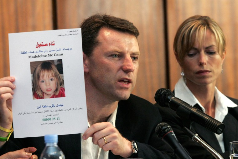 Image: Kate and Gerry McCann, parents of missing British child Madeleine McCann, at a press conference in Rabat, Morocco in 2007.