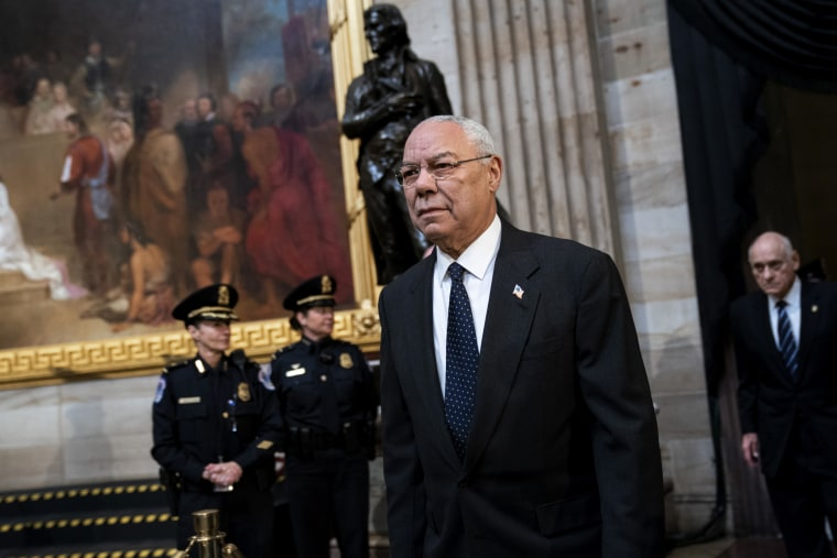 Image: Colin Powell arrives at the Capitol on Dec. 4, 2018.