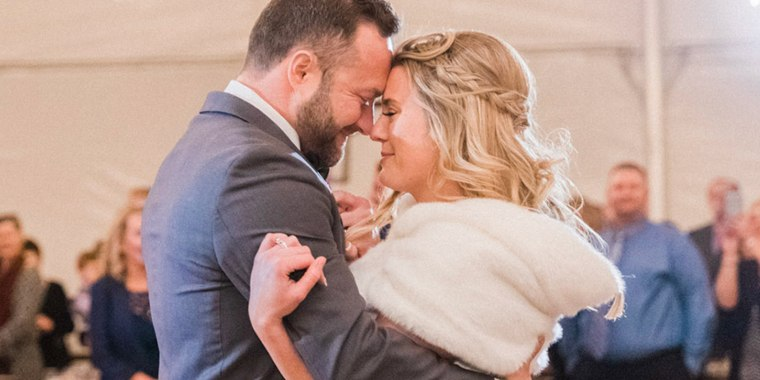 Bride Chelsey Mahlke was shocked when the Elvis staple she and her husband decided on for their first dance didn't begin playing, and instead the room was filled with the beautiful voice of someone who could not be at the ceremony singing a family song.