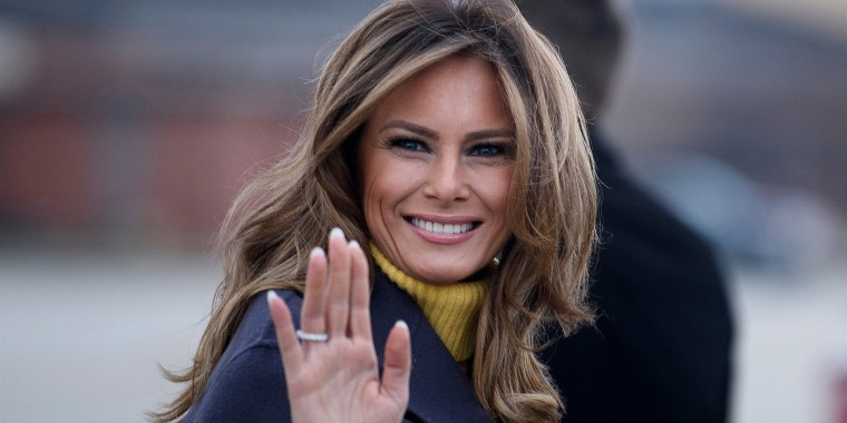 First lady Melania Trump boards a plane at Andrews Air Force Base for a three-state overnight trip March 4, 2019, in Maryland.