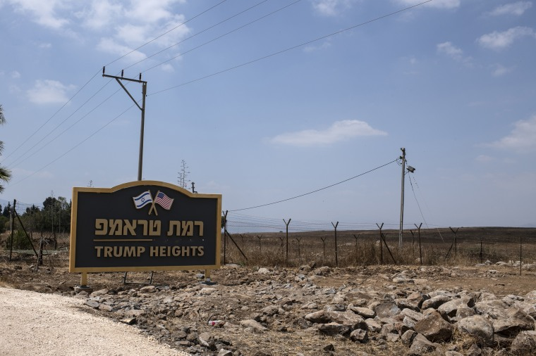 Image: The Trump Heights sign in Golan.