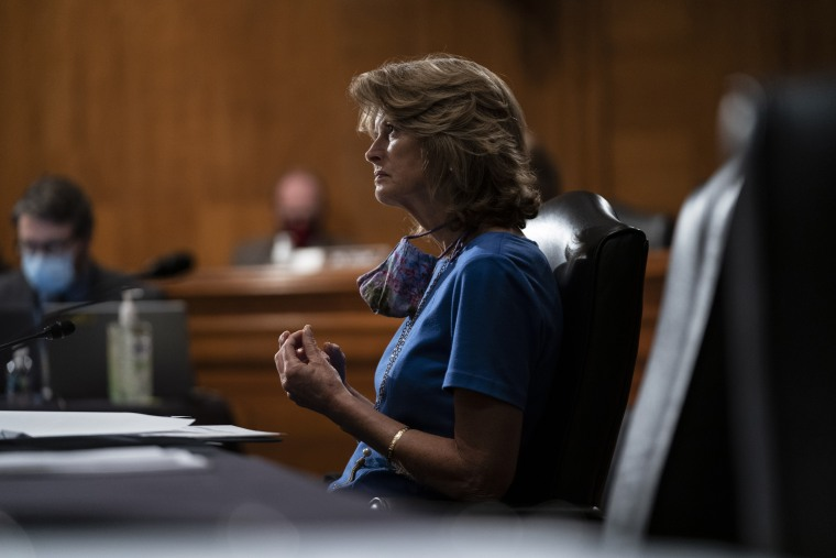 Image: Sen. Lisa Murkowski, R-Alaska, during a hearing on Capitol Hill