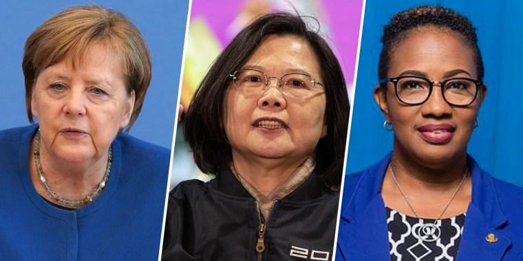 Image: Angela Merkel, Tsai Ing-wen and Silveria Jacobs
