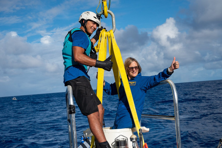 Kathy Sullivan just completed her historic dive to become the first woman to reach the deepest point in the ocean and the first human to have been in space and at full ocean depth.