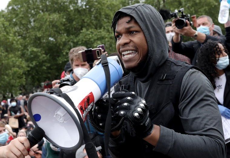 Image: Actor John Boyega speaks to the crowd during a Black Lives Matter protest in Hyde Park on June 3, 2020 in London, United Kingdom.