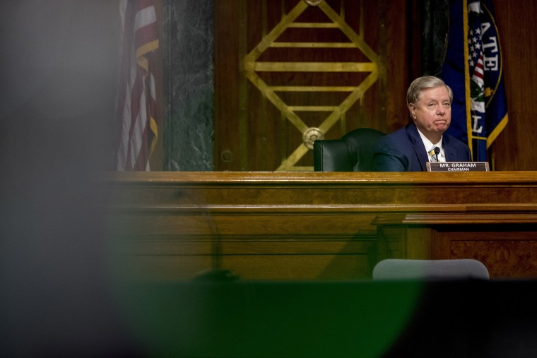 Image: Senate Judiciary Committee Chairman Lindsey Graham (R-SC) presides over a committee hearing on Capitol Hill on June 9, 2020 in Washington.
