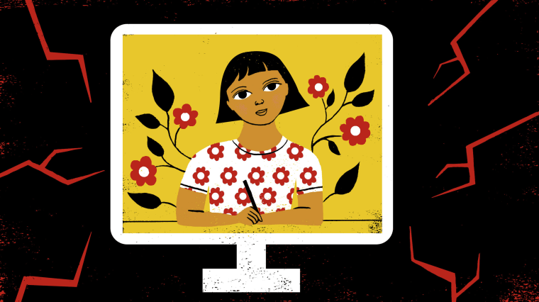 Image: A happy teenage girl inside a computer screen, surrounded by red cracks.