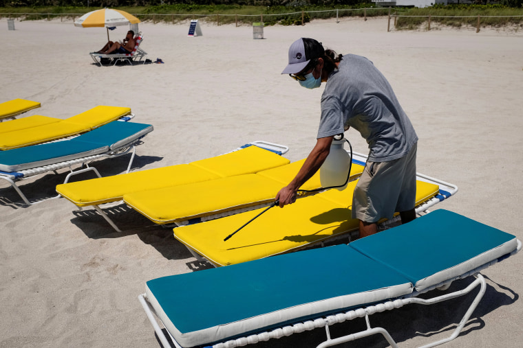 Image: Beaches reopen with restrictions to limit the spread of the coronavirus disease in MIami Beach