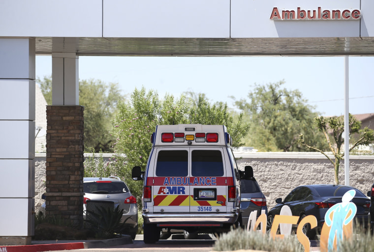 An ambulance at Arizona General Hospital in Laveen on June 10, 2020.