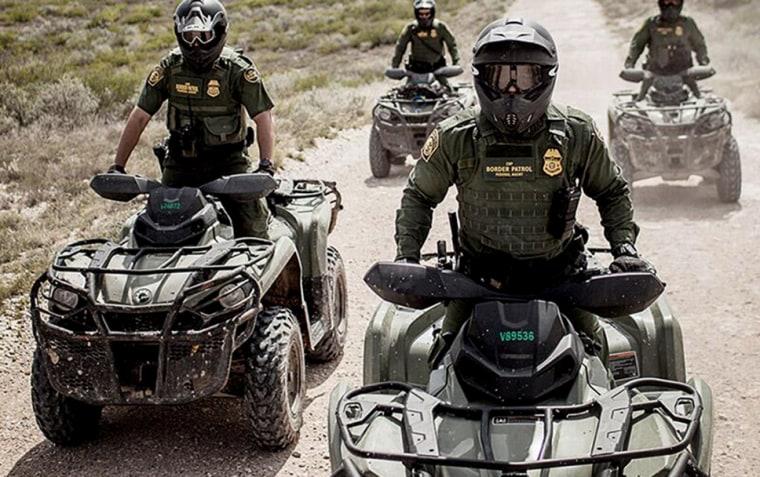 Image: CBP officers ride all-terrain vehicles (ATV's).