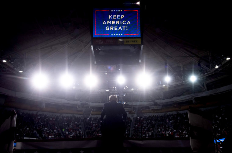 Image: President Donald Trump speaks at a rally in North Charleston, S.C., on Feb. 28, 2020.