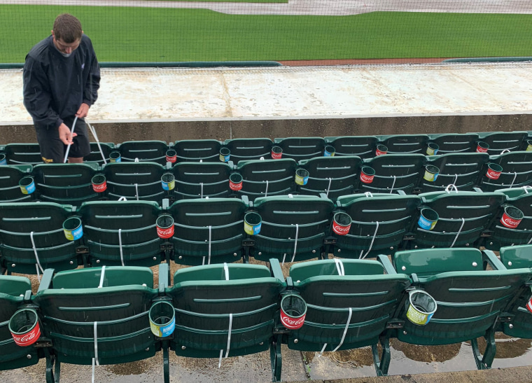 Seats are closed off to allow social distancing at Principal Park in Des Moines, Iowa