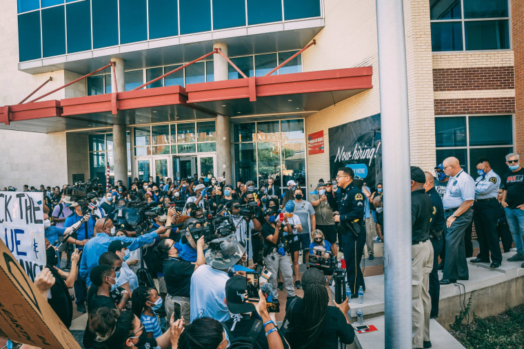 Arturo Martinez speaks at a march of Black and Latino officers to show their support for Black Lives Matter in Dallas on June 5.