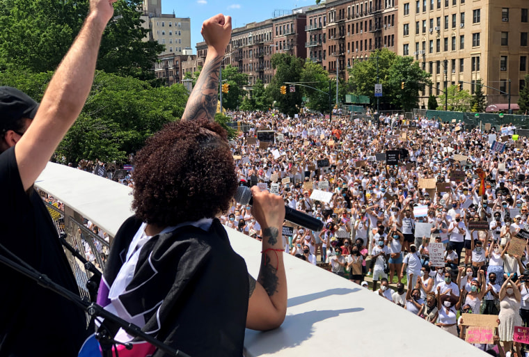 Image: The sister of Layleen Polanco, a transgender woman who died in Rikers Island Jail last year, speaks to a crowd gathered outside the Brooklyn Museum for a rally and march for Black transgender lives on June 14, 2020.