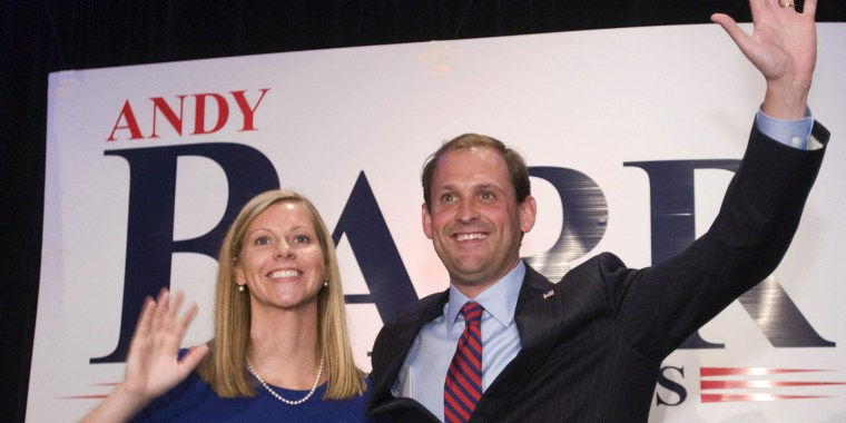 Republican Rep. Andy Barr and his wife, Carol, greet supporters in 2012 following Barr's congressional win.