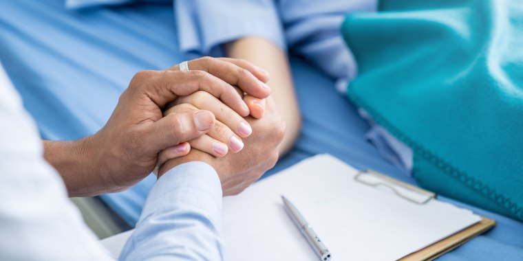 Close-up hands of expert doctors takes care patients