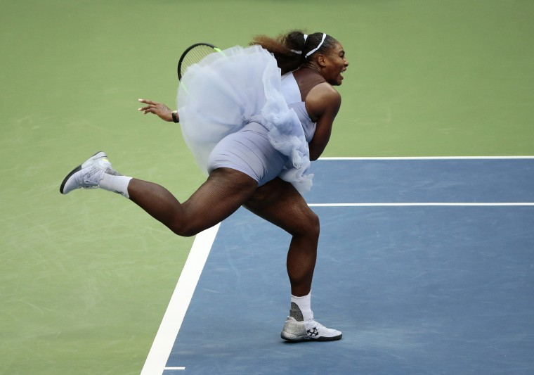Image: Serena Williams serves during the U.S. Open in New York