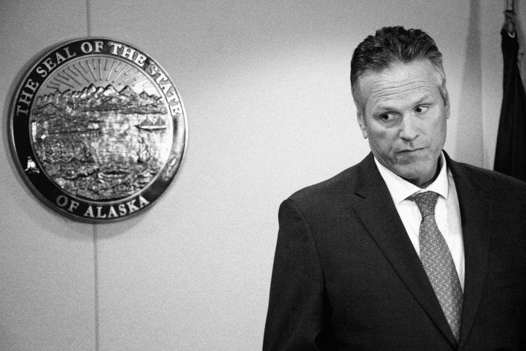Image: Alaska Gov. Mike Dunleavy at a news conference in Anchorage in 2019.