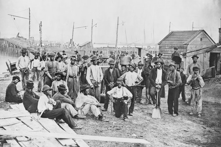 Group of Freed Slaves Along Harbor