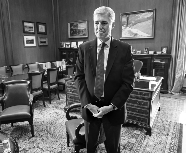Supreme Court Justice Neil Gorsuch in his chambers in August 2019.