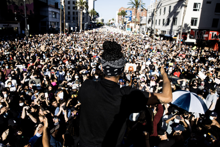 Protests in support of Black Live Matter on Hollywood Boulevard in Los Angeles on June 7, 2020.