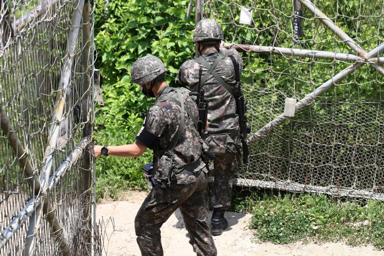 Image: South Korean soldiers patrol at Imjingak, near the demilitarized zone (DMZ) on June 16, 2020 in Paju, South Korea.