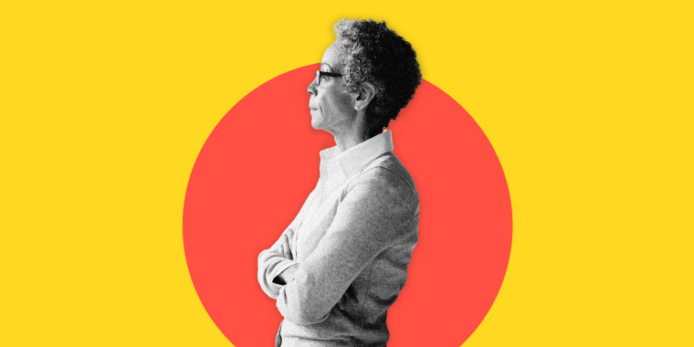Image: An older woman inside an orange circle on a bright yellow background.