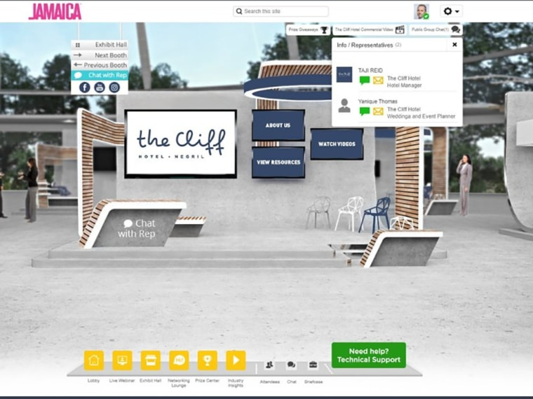 Image: A rendering of a booth for an online convention, with modules for viewing promotional materials, chatting with company representative, and prize giveaways