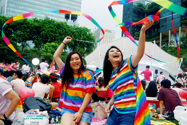 Image: Participants of Pink Dot, an annual event organised in support of the LGBT community at the Speakers' Corner in Hong Lim Park in Singapore