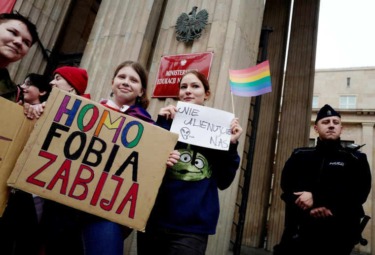 Image: A demonstration for LGBT rights in front of the Education ministry in Warsaw