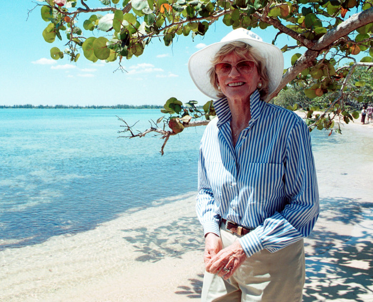 Image: Jean Kennedy Smith, sister of the late President John F. Kennedy, walks along Giron Beach in Cuba