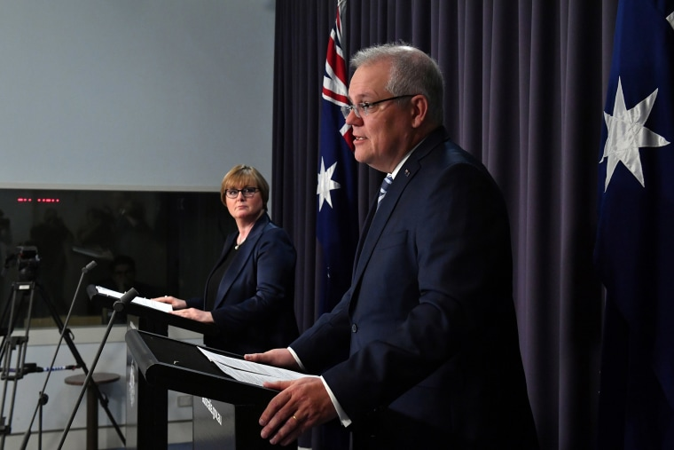 Image: Prime Minister Morrison speaks during a press conference revealing a state-based cyber attack in Canberra