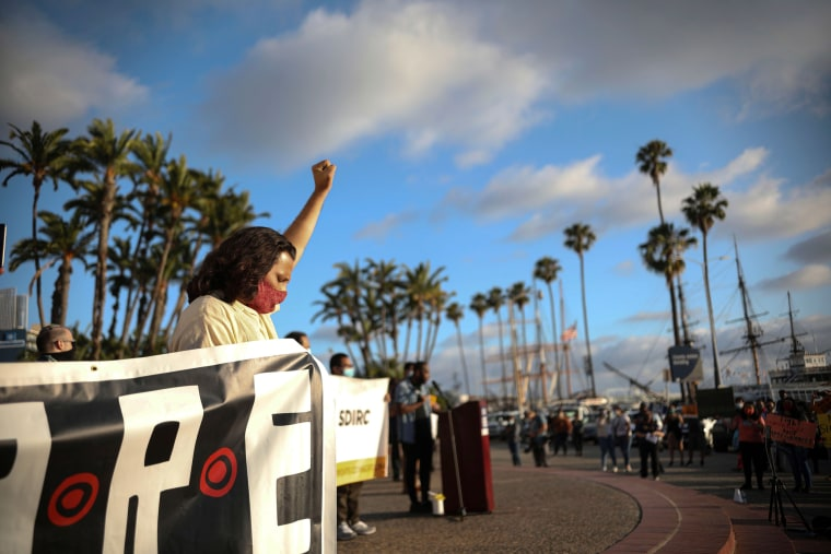 Demonstrators rally in support of the Supreme Court's ruling in favor of the Deferred Action for Childhood Arrivals (DACA) program in San Diego on June 18.