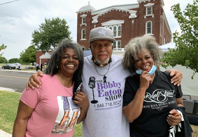 Valerie Saddler, 65, Bobby Eaton, 66 and Vanessa Saddler, 65, in Tulsa, Oklahoma, celebrate Juneteenth.