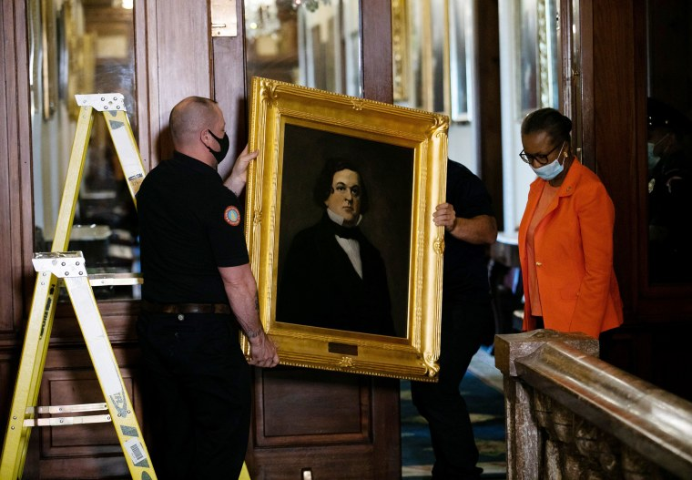 Image: Confederate Speakers Portraits In Speaker's Lobby Of U.S. Capitol Removed
