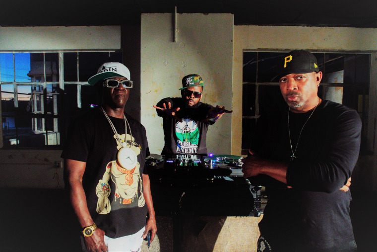 From left, Public Enemy music group memebrs, Flavor Flav, DJ Lord and Chuck D., June 2020.