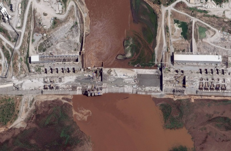 The Grand Ethiopian Renaissance Dam on the Blue Nile river in the Benishangul-Gumuz region of Ethiopia in a satellite image from May 28, 2020.