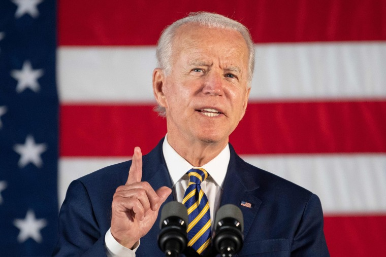 Democratic presidential candidate Joe Biden speaks about reopening the country during a speech in Darby, Pa., on June 17, 2020.