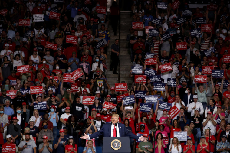 Image: President Donald Trump speaks at a campaign rally in Tulsa, Okla., on June 20, 2020.