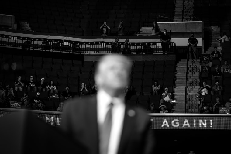 Image: Supporters listen to President Donald Trump during a campaign rally at the BOK Center in Tulsa, Okla., on June 20, 2020.