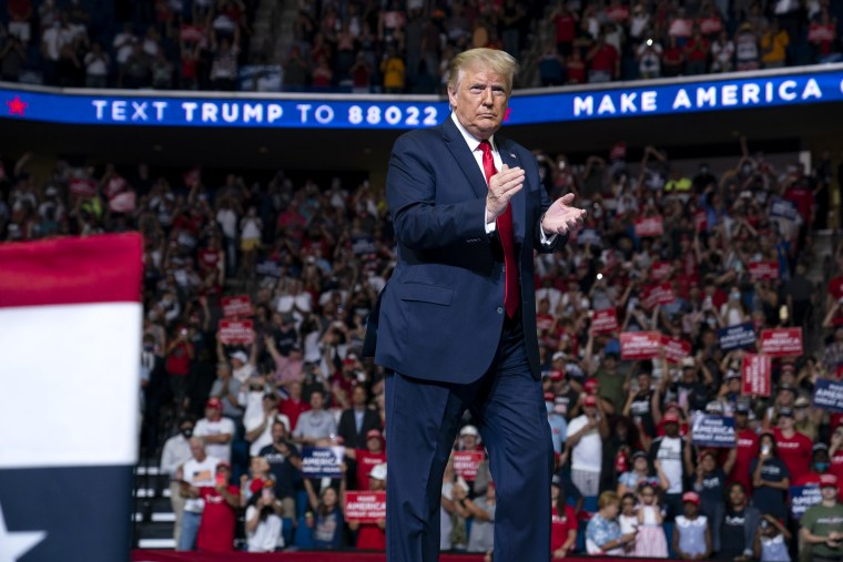 Image: President Donald Trump at a campaign rally in Tulsa, Okla., on June 20, 2020.