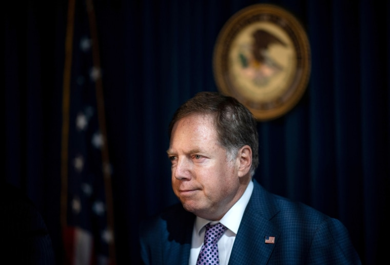 Image: Attorney for the Southern District of New York Geoffrey Berman at a news conferences in 2019.