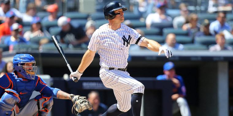Brett Gardner of the New York Yankees at bat against the New York Mets at Yankee Stadium in New York on June 11, 2019.
