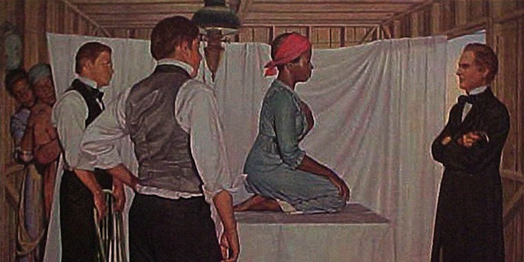 A painting of Dr. James Marion Sims, by American artist Robert Thom from the 1950s, is the only known representation of Lucy, Anarcha and Betsey, three enslaved women who Sims operated on, according to the American Historical Association.