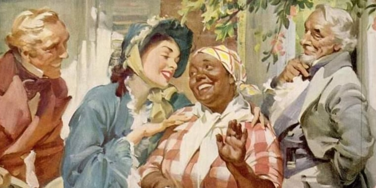 "American artist Haddon Hubbard ""Sunny"" Sundblom was best known for his classic Coca Cola illustrations with Santa, but also designed this 1955 advertisement for Aunt Jemima. Sundblom also drew the Quaker Man that is still on Quaker Oats boxes."