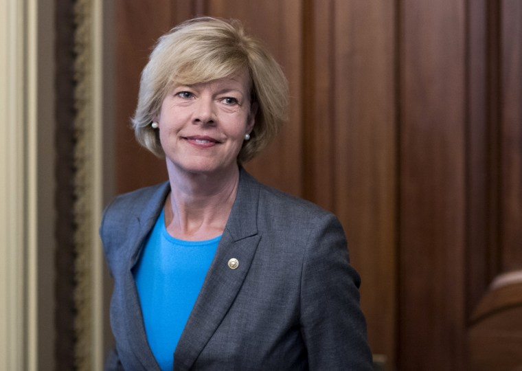 Image: Sen. Tammy Baldwin, D-Wis., leaves a luncheon at the Capitol on Sept. 7, 2016.