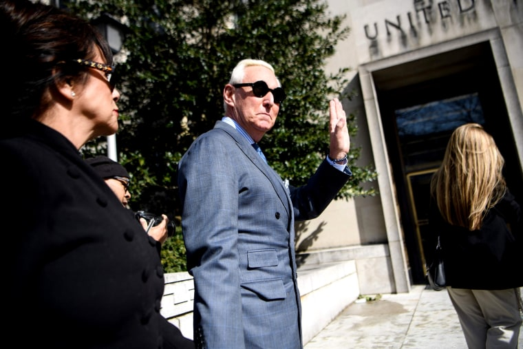 Image: Roger Stone, a former campaign adviser to President Donald Trump, arrives at U.S. District Court in Washington on Feb. 21, 2019.