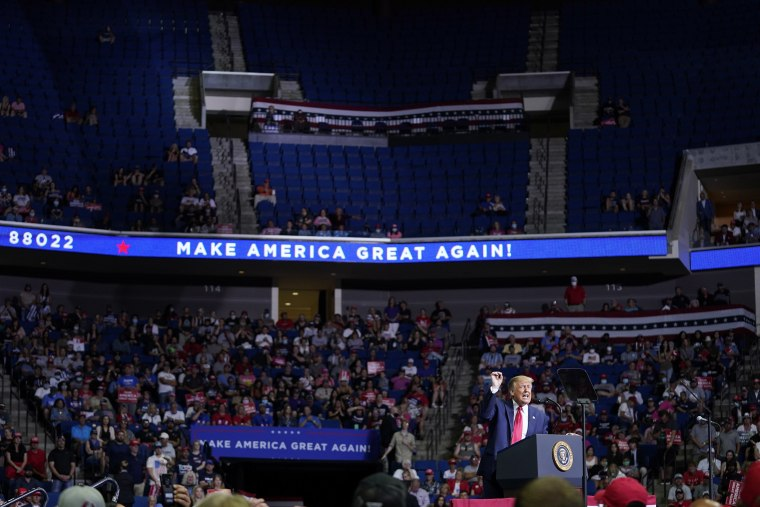 Image: President Donald Trump speaks during a campaign rally at the BOK Center, Saturday, June 20, 2020, in Tulsa, Okla.