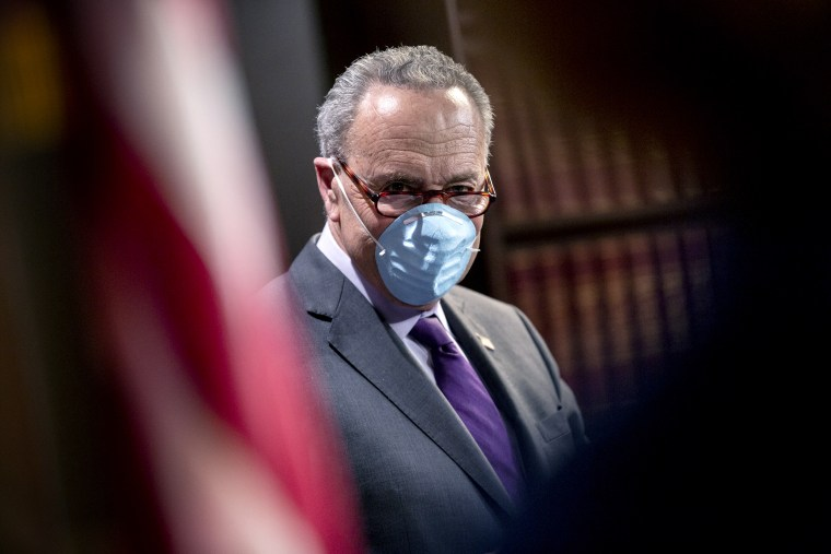 Image: Senate Minority Leader Chuck Schumer at a news conference at the Capitol on May 19, 2020.