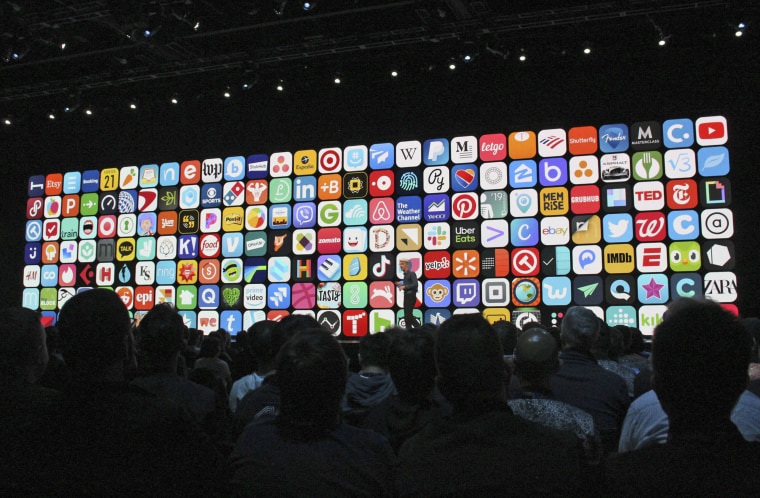 App icons on a screen during the 2019 Apple Worldwide Developer Conference in San Jose, Calif.